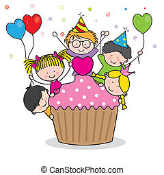 Celebrating birthday party Cute cartoon kids