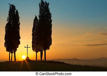 Holy sunrise in Tuscany