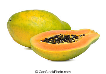 ripe papaya - Fresh and ripe papaya isolated on white...