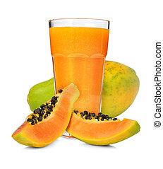 papaya smoothie - Glass of papaya smoothie isolated on white
