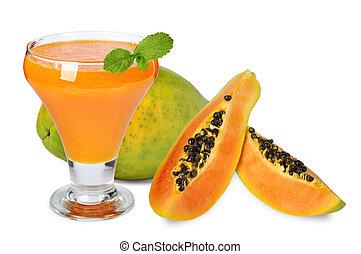 blended papaya juice - Fresh blended papaya juice with a...