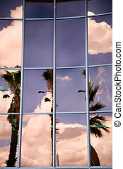 Building windows with reflections - Modern office building...