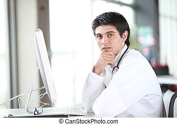 前面, 電腦, 年輕, 工作, 醫生
