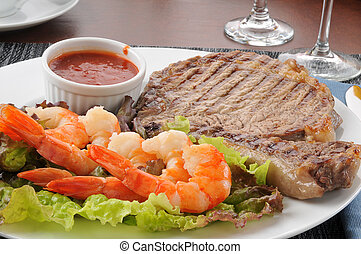 Steak and shrimp closeup