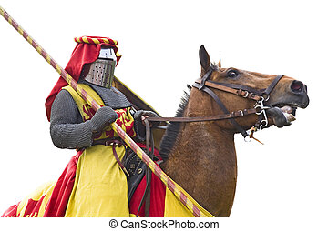 Heavy knight with spear.  - Medieval armored knight.