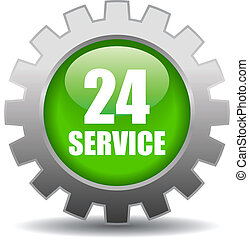 Vector 24 hour service sign - 24 hour service vector icon on...