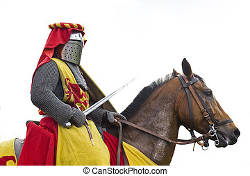 Heavy knight with sword - Medieval armored knight.