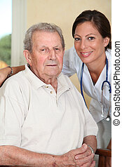 Elderly person with nurse