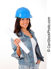 Woman architect standing on white background