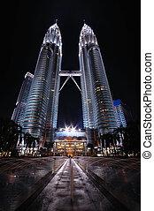 Petronas Twin Towers at night in Kuala Lumpur
