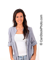 Young woman standing on white background