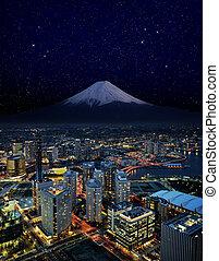 surreal, noturna, vista, Yokohama, cidade, Japão,...