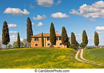 Tuscan farmhouse and cypress trees Bright classic view