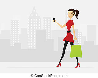 Shopping girl - Illustration of shopping girl