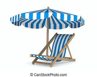 Deckchair and parasol on white background. Isolated 3D image...