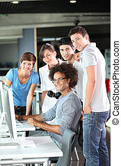 Group of college students in business training