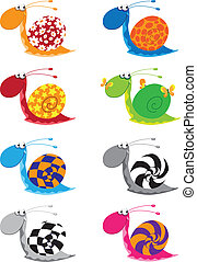 snail funny set - illustration of a snail funny set