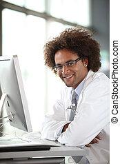 前部, コンピュータ, 若い, 仕事, 医者