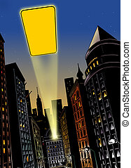 City at night with flash of light in the sky - Illustration...