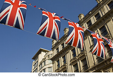 Decorated street with flags - Street in London decorated...
