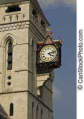 Clock on the Royal Courts of Justice building