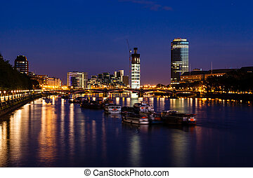 Thames River and London Cityscape in the Night, United...
