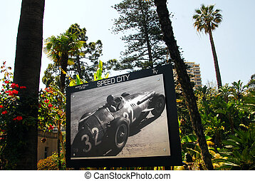 Monaco and Monte Carlo Kingdom - Poster of a race car and in...