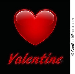 Valentine - Abstract stylised Valentine message on black...