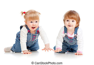 Funny kids girls crawling on floor