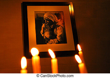 Marseille, France - Photo of Mother Teresa and candles in...