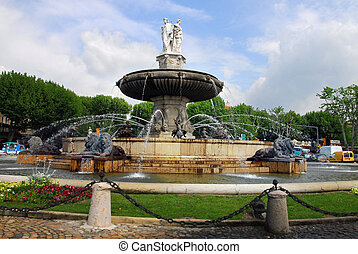 Aix en Provence - Cityscape La Rotonde fountain in Aix or...