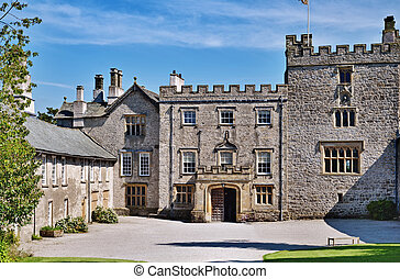 Sizergh Castle, Cumbria, England - Courtyard and entrance to...