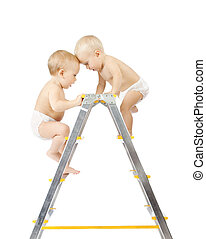 Two babies climbing on stepladder and fighting for first...
