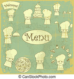 Vintage cover menu with chefs