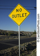 Yellow no outlet sign - no outlet yellow road hazard sign