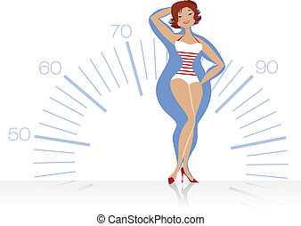 Dieting woman - Vector illustration of a slenderizing women...
