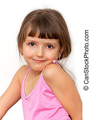 Amazing adorable little girl isolated on white background