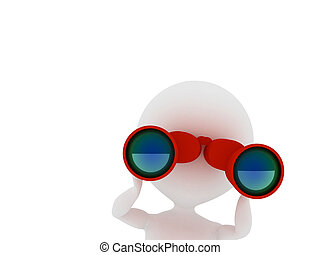 Man looking through binoculars. 3d rendered illustration.