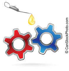 gear and oil - set of two colorful gear and drop of oil