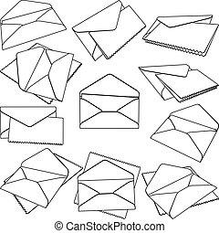 Set of open Envelopes