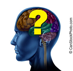 Brain Questions - Brain question mark as a concept of...