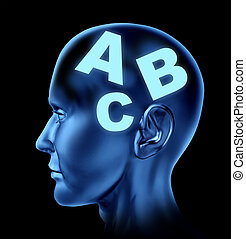 Speech and reading concept with a human head with letters as...