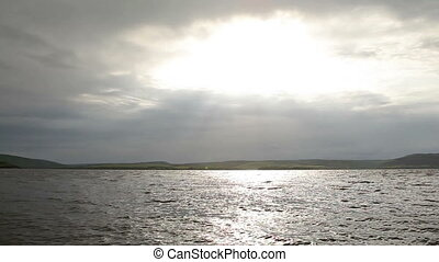 Sunbeams Over Dniester - sunbeams from clouds over Dniester,...