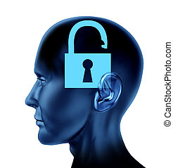 Open Mind - Lock un-locked open secrets symbol Brain mind...
