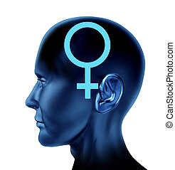 Female woman symbol as a side view head as a concept of...