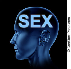 Sexual Brain - Sex on the mind symbol with a blue human head...