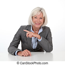 Portrait of businesswoman on white background
