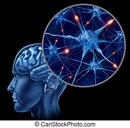Active Human Neurons - Human brain medical symbol...