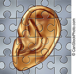 Hearing Concept - Human ear symbol on a jigsaw puzzle...