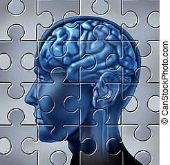 Memory loss Concept - Memory loss and alzheimers mental...